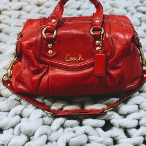 Coach Ashley Leather Satchel - Red